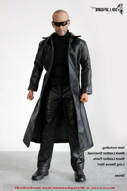1:6 Scale Clothing-Men Black Leather Jacket Model Long Coat