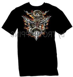 1-SNAKE ANCHOR FLAMES MOTORCYCLE RIDING WEAR APPAREL GRAPHIC