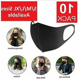 S/M/L/XL 10-Pack Black Face Mask Reusable Washable Cover Mas