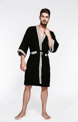 100% Cotton Men' Sauna Shower Bathrobe Dress Nightgowns Slee