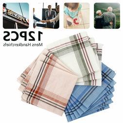 12Pc Mens Handkerchiefs Hankies Hankerchiefs Cloths 100% Pur