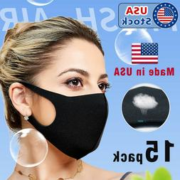 15PACK Black Face Mask Unisex Reusable Washable Cover Mask M