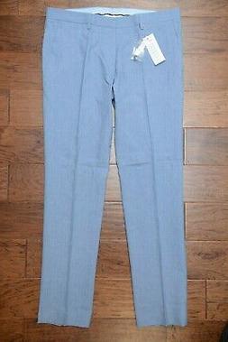 Lacoste $195 Men's Slim Fit Blue Cotton/Linen Casual Dress P