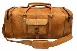 "24"" Men's genuine Leather large vintage duffle Clothing Spac"