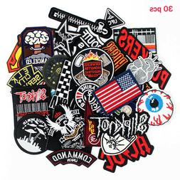 30pcs/lot Punk Fashion men boys Patches Badges Embroidery ir
