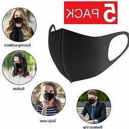 5-Pack Black Face Mask Reusable Washable Cover Masks Fashion
