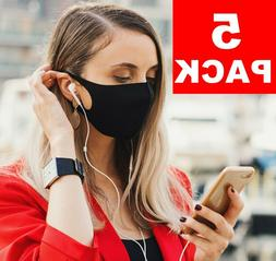 5-Pack Black Face Mask Reusable Washable Cover Masks Fashion