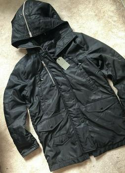 """ALL SAINTS MEN'S BLACK """"GARTH"""" ITALIAN CLOTH PARKA COAT JACK"""