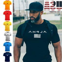ALPHA Men Gym T Shirt Bodybuilding Fitness Clothing Mens Wor