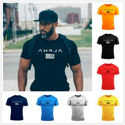 ALPHA Men's Gym T-Shirts Fit Muscle Fitness Workout Athletic