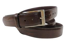 Big and Tall Men's Leather Dress Belt, Lizard Embossed, Size