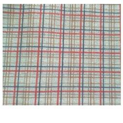 "Blue Red Gold Plaid Fabric Print Silver 18"" x 30' Doll Kid's"