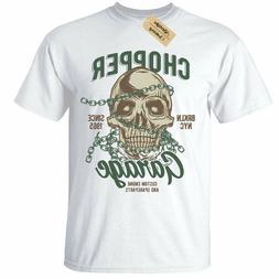 Chopper Garage T-Shirt Mens Skull biker motorcycle rider mot