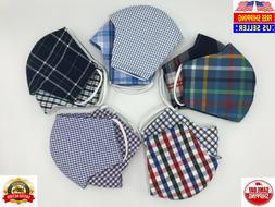 Cloth Face Mask 2 pack, SHIRTS PLAID cotton fabric, Washable
