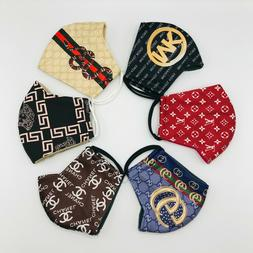 2 PACK Face Mask, NEUTRAL PLAID Cotton Fabric, Washable/Reus