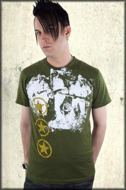 Pollution Clothing Army Soldiers Star Emo Mens T-Shirt Olive