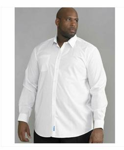 DUKE D555 MENS BIG TALL SUPER KING SIZE WHITE DRESS SHIRT 2X