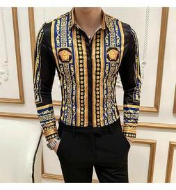 Dashiki Versace Medusa Shirt Long Sleeve Gold Baroque Men Vi