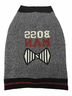 Dog Knit Sweater Gray Boss Man Bow Tie Pet Outfit Apparel Co