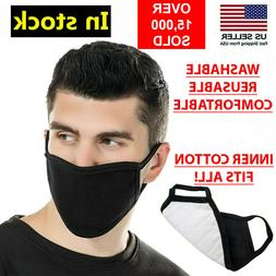 Black Unisex Face Mask Reusable Washable Cover Masks Fashion