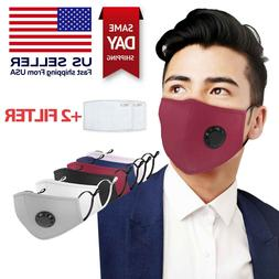 Reusable Washable 5 Layer Cloth Face Mask w/ Air Port + 2 PM