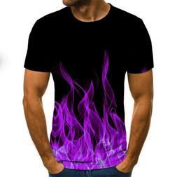 Fashion Men 3D Tee Tops O-Neck flame Print Short Sleeve Shir