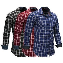 Fashion Men's Long Sleeve Plaid Dress Shirt Checks Shirt Cas