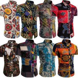 Fashion Men's Summer Casual Dress Shirt Mens Floral Short Sl