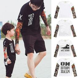 Father Son Matching T-shirt Tattoo Print Long Sleeve Tops Fa
