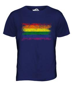 GAY PRIDE DISTRESSED FLAG MENS T-SHIRT TOP RAINBOW LGBT GIFT
