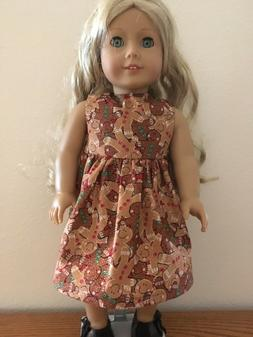 Gingerbread Man Dress for 18 Inch American Girl Doll FREE SH