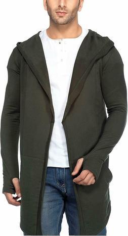 Indian Men's Cotton Shrug Sinker Hooded Full Sleeve Cardigan