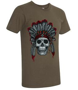 Indian Skull American Apparel Mohican Skeleton AA T-shirt -