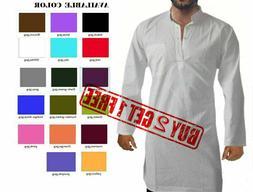 Indian traditional 100% cotton Men's kurta long solid ethnic