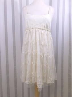 Pinky Ivory Layered Lace Dress  size Small spaghetti straps