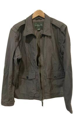 EDDIE BAUER JACKET Men's Brown Size Large Explorer Cloth Zip