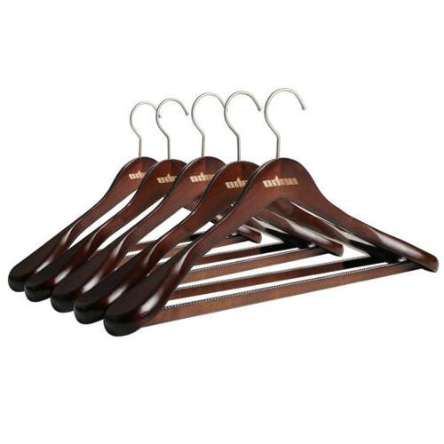 5PCS Wood Shoulder Hanger Men Suit Coat Hanging Rack