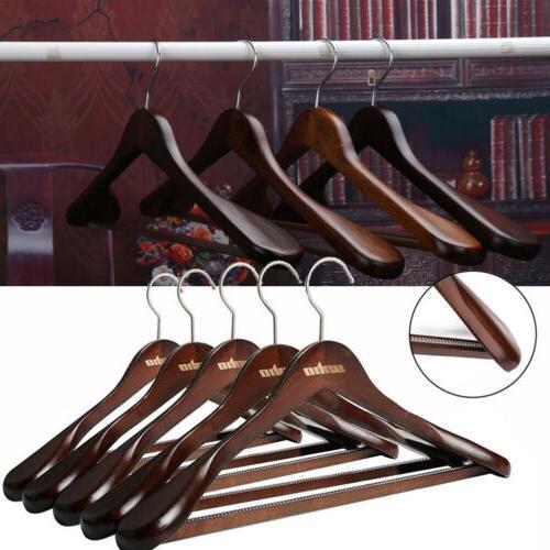 5pcs vintage wood wide shoulder clothes hanger