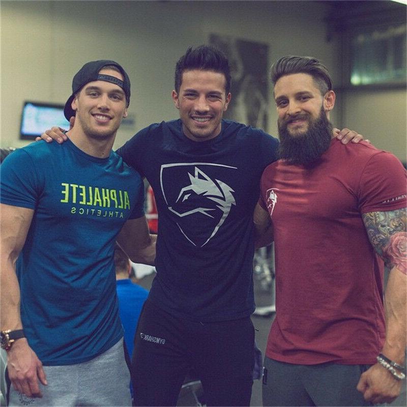 ALPHALETE Gym T-Shirt Men Muscle Fitness Cotton Fit Tee