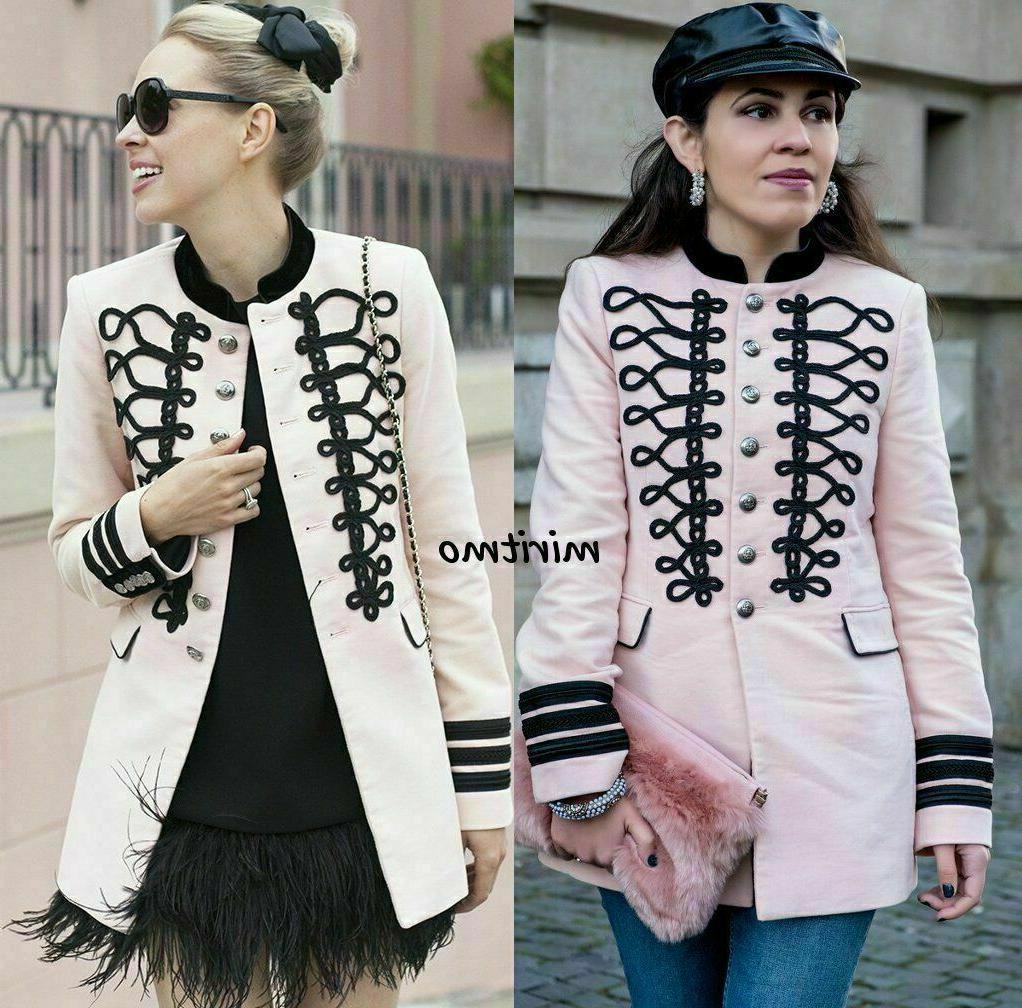 blazer pink military velvet toggles coat jacket