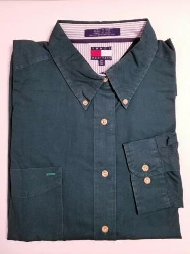 brand green button down shirt mens size