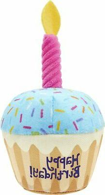 Frisco Plush Birthday Cupcake with Squeaker Dog Toy