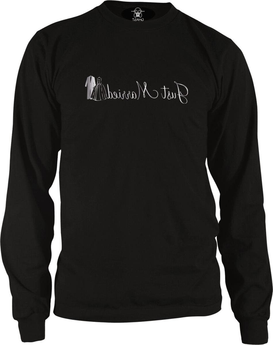 just married silver script bride groom clothes