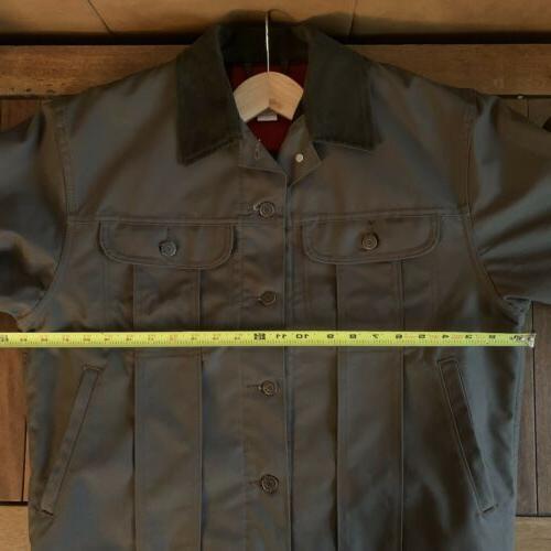 Filson Ranch Jacket Dark Brown Men's L Mackinaw Buffalo Plaid Tin Cloth