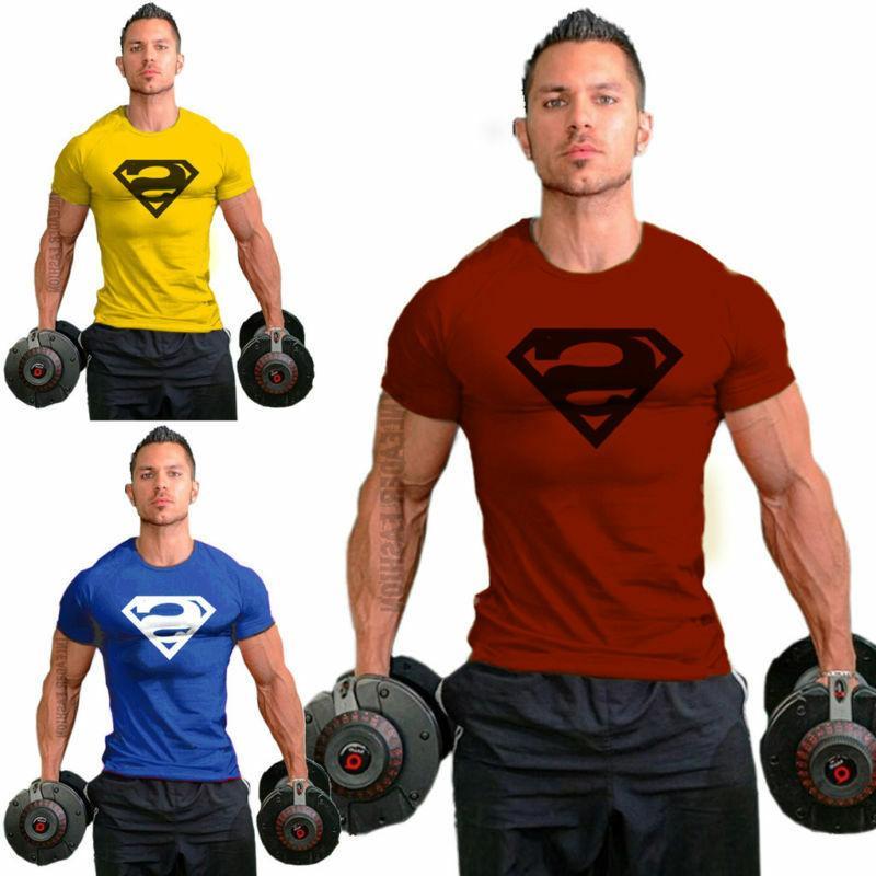 men casual superman sport gym t shirt