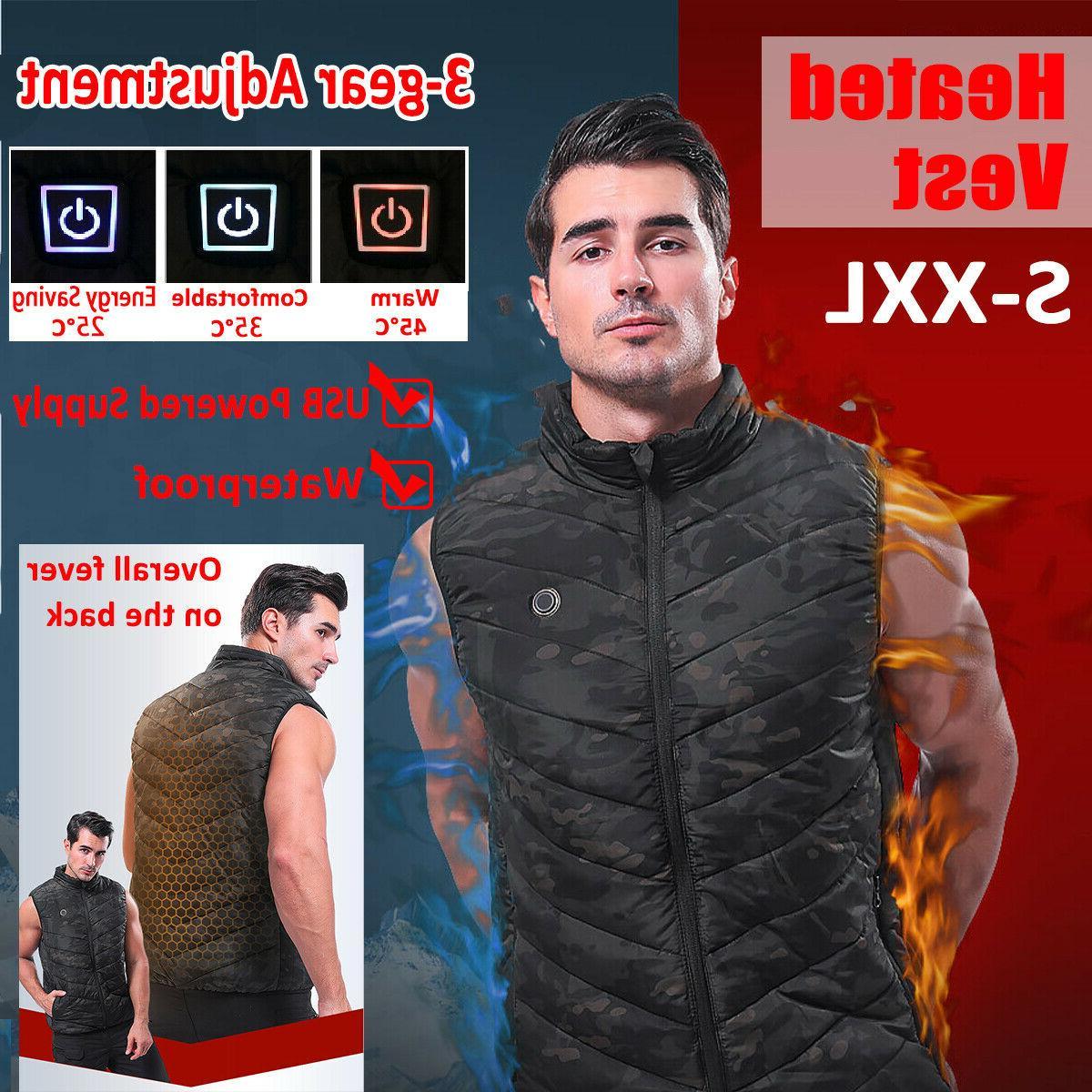 Men Womens Vest Heated Jacket USB Warm Up Heating Body