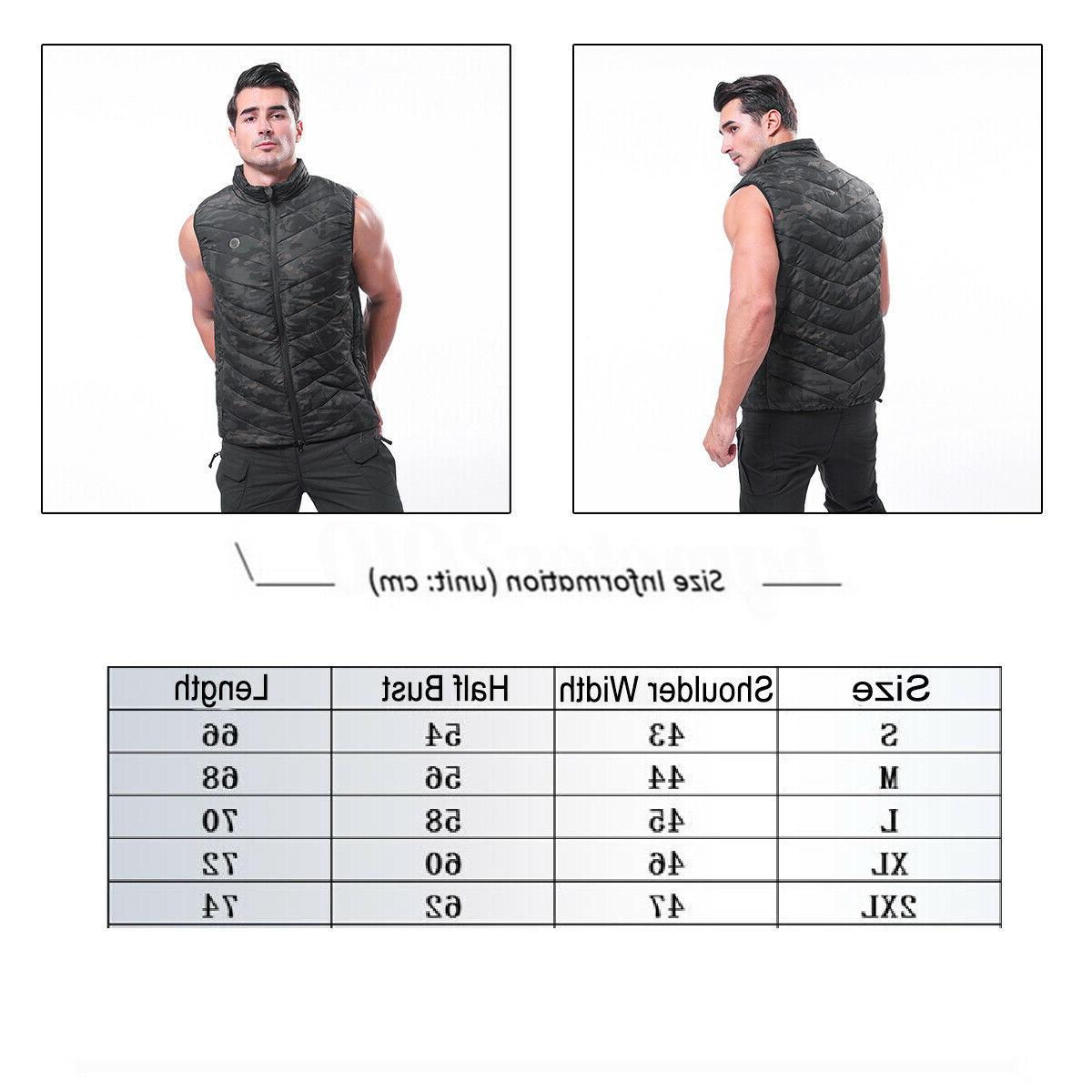 Men Womens Electric Vest Heated Cloth Warm Up Pad Body