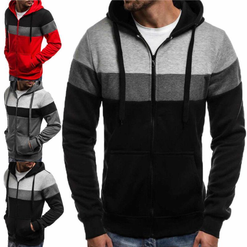 Mens Zipper Hoodies Hooded Jacket Coats Winter Wear Clothes US
