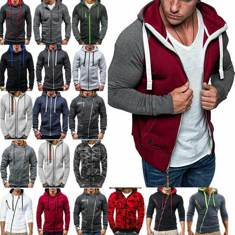 Mens Zipper Hooded Jacket Sweatshirt Winter Clothes