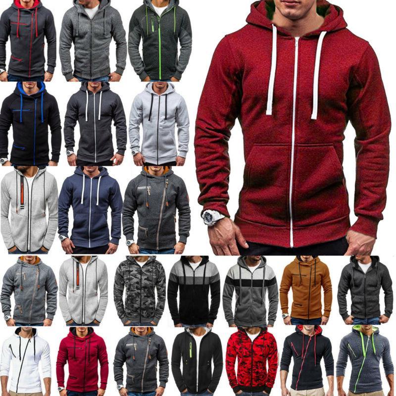 Mens Zipper Hoodies Hooded Jacket Winter Clothes